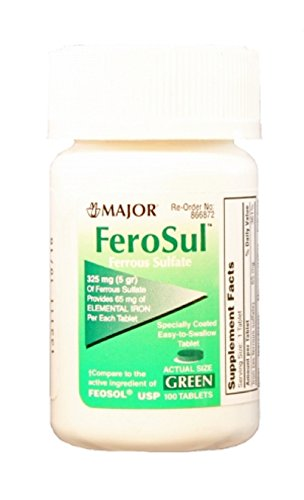 MAJOR FEROSUL 5GR FC GREEN TABS FERROUS SULFATE-325 MG Green 100 TABLETS UPC 309047591602