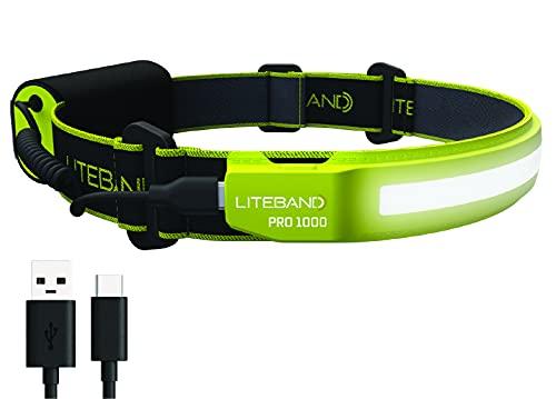 Liteband PRO 1000 Series Wide-Beam Adjustable Personal Headlamp , 210° Illumination, Battery-Powered, Fits Hard Hats and Helmets, LBP1000-L34HV, 1000 Lumens, High Visibility