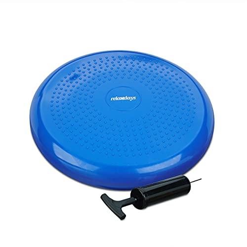 Relaxdays Balance Kissen, max. Gewicht 140 kg, Balance Pad mit Luftpumpe, Ballsitzkissen m. Noppen, Fitnesskissen, blau
