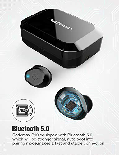 [Upgrade] True Wireless Earbuds,Bluetooth Earphones Bluetooth 5.0 Earbuds IPX7 Waterproof Headphones Auto Pairing in-Ear Stereo 90H Cycle Play Time Wireless Headset with 3350mAh Charging Case 6