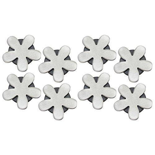 com-four® 8X Tischdeckenbeschwerer - Tischtuchgewichte aus Edelstahl - magnetische Tischtuchklammer - 55 g (08 Stück - Blume)