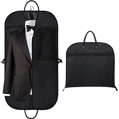 "Orange Tech 43"" Gusseted Travel Garment Bag for Business, Foldable, Durable Thick Oxford Fabric Travel Suit Bag with 5 Zipper Pockets and 2 Carry Handles for Storage and Travel, Black"