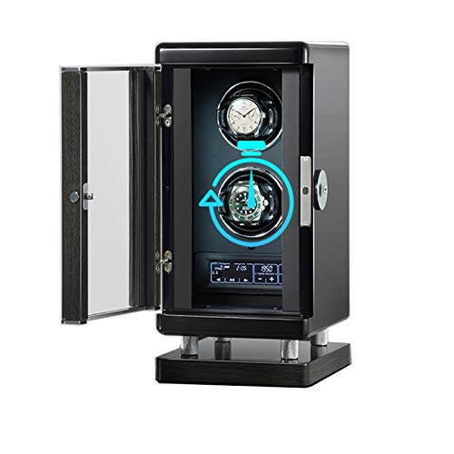 ZCXBHD Caja Giratoria para Relojes 2 Relojes Watch Winder con Motor Silencioso Interruptor de Huella Digital Inteligente con Mando A Distancia LED Incorporado Iluminado 6 Programas de Rotación