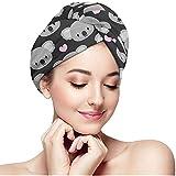 Olive Helin(a) Asciugamano per Capelli Asciugamani Testa Turbante - Koala Carini e Cuori Rosa Cappello da Doccia per Bagno, Asciugamani Testa alla Moda con Bottone, Cuffia per Capelli