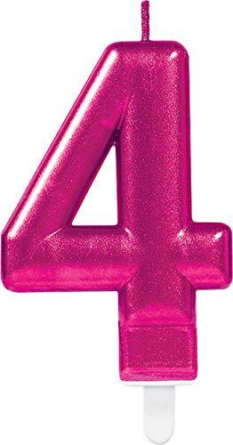 amscan 9901786 Number Candle #4 Metallic Pink-1 Pc