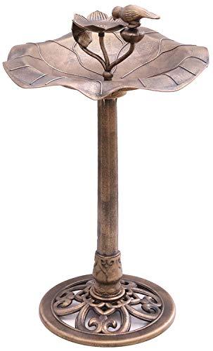 Novaliv Vogeltränke Vogelbad Bronze Kunststoff Vogelfutterspender für Wildvögel (Vogeltränke mit Futterplatz, Bronze)