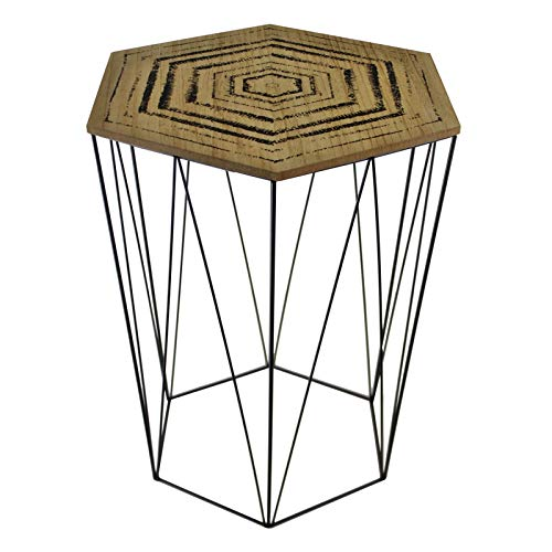 Hexagon Shaped Side End Coffee Table Lift Top with Print