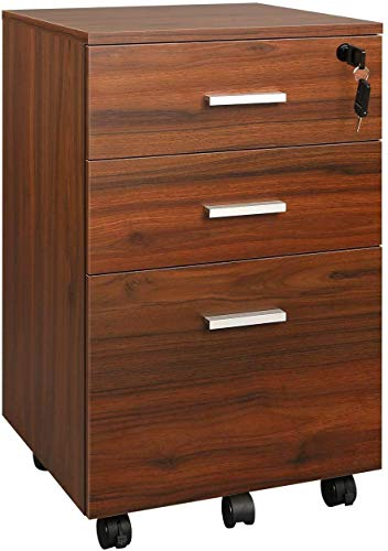 DEVAISE 3 Drawer Mobile File Cabinet with Lock, Wood Filing Cabinet for A4 or Letter Size, Fully Assembled Except Handles and Wheels, Grey Oak