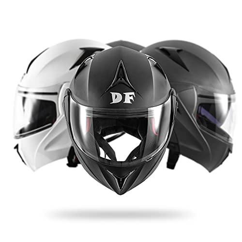 DIEFFE Casco modular para moto DF901, casco modular abatible, con doble visera antiarañazos y antivaho, homologado ECE 22 05 (negro mate, grande)
