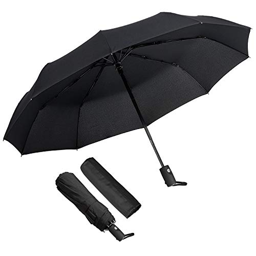 ECHOICE Paraguas Plegable Hombre Automático Antiviento, Paraguas Negro Compacto Resistente al Viento, Paraguas de Viaje (Negro 1)