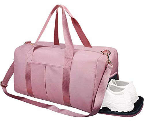 Gym Duffle Bag Dry Wet Separated Gym Bag Sport Duffle Bag Training Handbag Yoga Bag with Extra Drawstring Backpack Pink