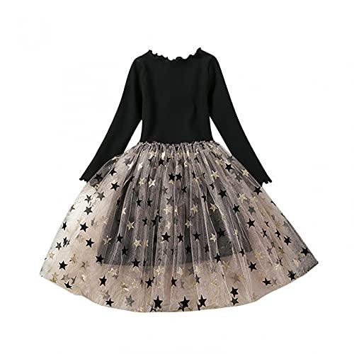 YQSR Vestido de manga larga para nia con estampado de princesa, vestido de manga larga, vestido de princesa, vestido para nia, vestido de dama, Le Noir, 5 aos