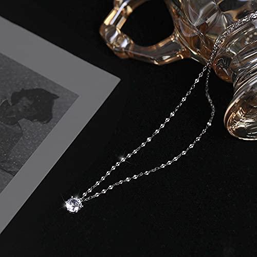 ShZyywrl Collar De Joyas Regalos para Aniversario Cumpleaños De La Madre Collar Collar De Plata Esterlina con Un Solo Diamante Colgant