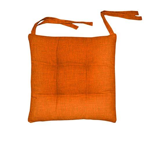 SaRani Funda para silla de 6 cojines con lazos, color liso, melangado, naranja, algodón