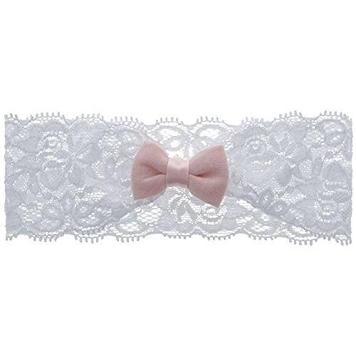 PARSA Baby Haarband weiß Spitze mit rosa Schleife