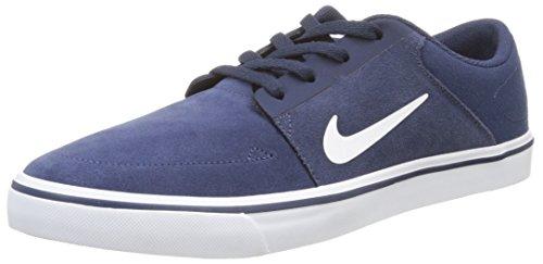 Nike SB Portmore, Zapatillas de Skateboarding Hombre, Azul/Blanco (Mid Navy/White-Gm Lght Brwn), 42 1/2