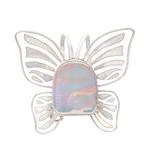 Lurrose Mochila con alas de ángel de mariposa, mochila informal para niñas, mujeres, viajes, actividades al aire libre, color plateado fluorescente