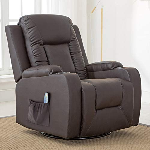 Best ComHoma Leather Recliner Chair Modern Rocker with Heated Massage Ergonomic Lounge 360 Degree Swivel
