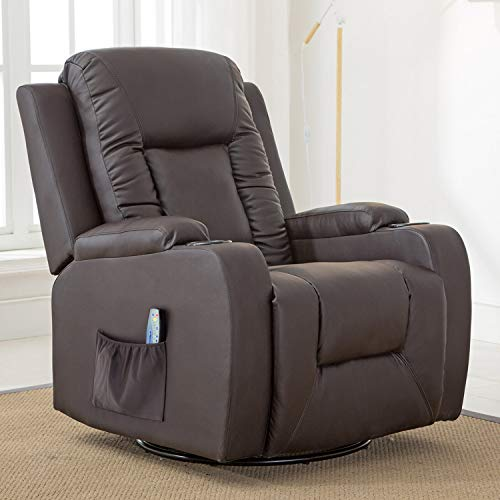 Comhoma Leather Recliner Chair Modern Rocker with Heated Massage Ergonomic Lounge 360 Degree Swivel Single Sofa Seat with Drink Holders Living Room Chair (Brown)