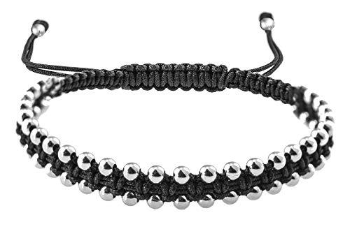 PAPOLY® Pulseras de Macramé con doble linea de bolas de PLATA DE LEY 925 Medida facil de Ajustar con cierre de hilo Macrame hecho a Mano. (NEGRO)