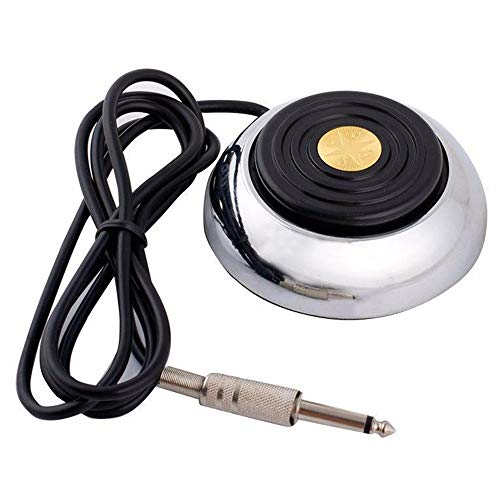 Tattoo Foot Pedal - Tazay Round Stainless Steel Tattoo Foot Pedal Gem Style 360 Degree Switch With 5'' ft Clip Cord for Tattoo Machine Power Supply Tattoo Kits Tattoo Supplies