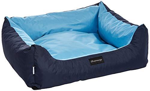 Fabotex Petit - Sofá Boston azul/azul, 100 x 80 x 25 cm, cama para perros y gatos, desenfundable, cojín suave, impermeable, antiarañazos y de alta resistencia