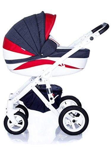 Kombi Kinderwagen Travel System Adamex Barletta New B10 3in1 Buggy Sportwagen Babyschale Autositz in schwarz Kite 0-13kg (3in1 + Babyschale)