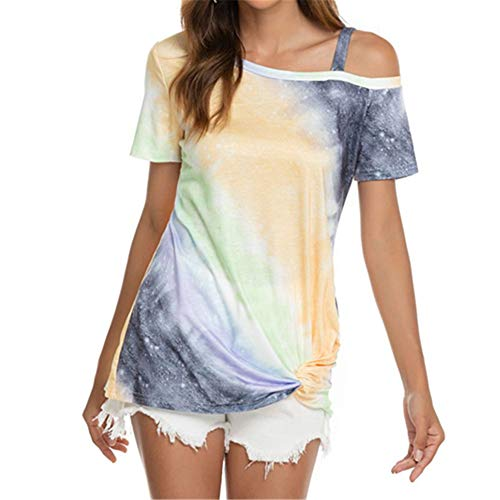 ZFQQ 2020 New Printed Gradient Gradient Shoulder Short Sleeve Hem Knotted T-Shirt