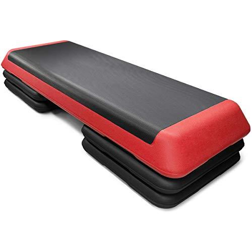 "Goplus 43'' Adjustable Fitness Aerobic Step Stepper Platform 4"" - 6"" - 8"" Non-Stick Surface W/Risers (Red)"