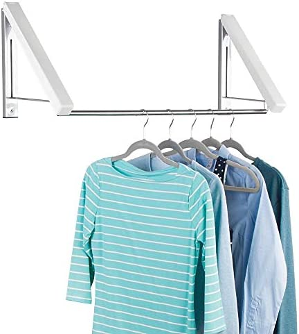 mDesign Expandable Metal Wall Mount Clothes Air Drying Rack - for Indoor Air Drying and Hanging Clothing, Towels, Lingerie, Hosiery, Delicates - Great for Laundry Room, Bathroom, Utility Area - White