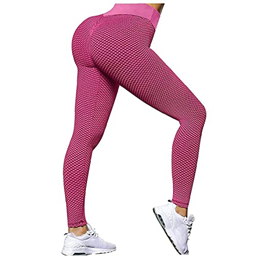 Los pantalones de yoga apretado cintura alta sin fisuras del gimnasio del deporte polainas control del estómago para Running Entrenamiento Rosy XL Deportes polainas Mujeres
