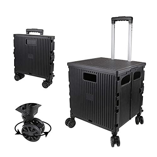 Einkaufstrolleys Werkzeuge Grand Rolling Collapsible Storage Utility Cart mit Teleskopgriff, faltbarer tragbarer Walzradwagen, 80 lb.Tragfähigkeit, glatte Räder für Reisen einkaufen Mobile Gepäckböde,