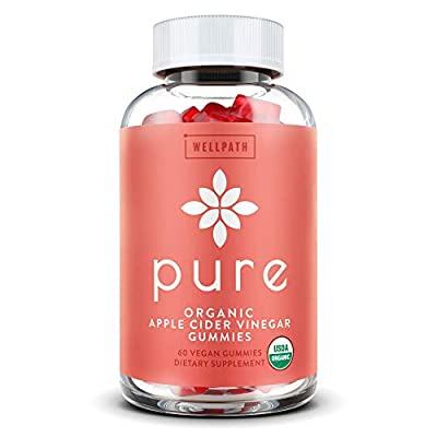Pure Apple Cider Vinegar Gummies - U.S.D.A. Organic Certified A.C.V. Gummies - No Artificial Sweeteners - with Raw, Organic Apple Cider Vinegar with The Mother - Detox, Cleanse Support - 60 Ct