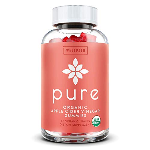 Pure Apple Cider Vinegar Gummies - First USDA Organic Certified ACV Gummies - with Raw, Organic ACV with The Mother - Gummy Alternative to Capsules - Detox, Cleanse Support - 60 Ct