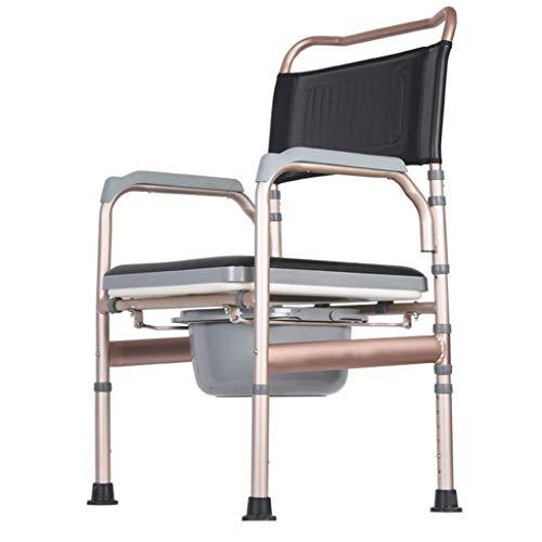 XWZJY Deluxe Nachtkommode Duschstuhl 3 in 1 Bariatrischer Toilettensitz mit gepolstertem Kissen rutschfeste Beinauflage Höhenverstellbar Wiederherstellung der Chirurgie für die einfache Übertragung