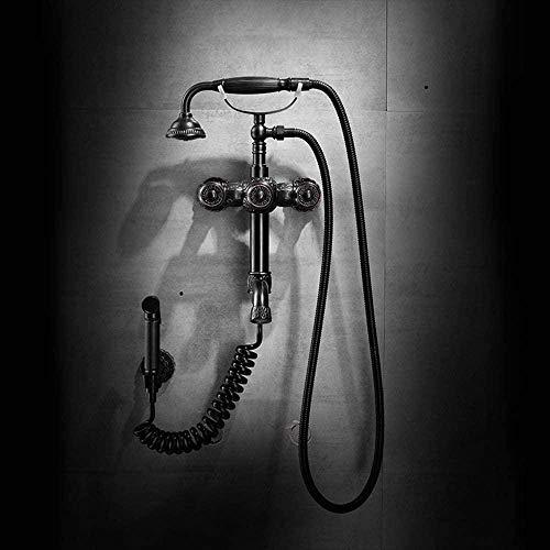Juego de ducha de baño antiguo tallado en negro europeo Válvula de agua de mezcla de cobre retro Sistema de ducha de mano presurizado Estilo de teléfono con grifo Bidet Hermoso práctico