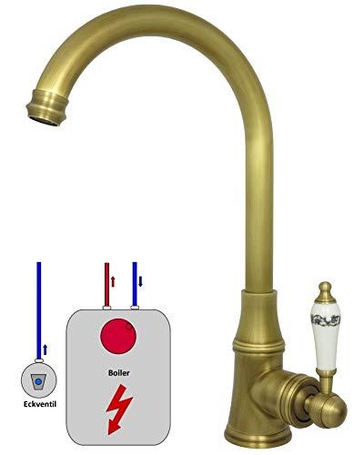 Niederdruck Armatur Braun für die Küche 360° drehbar Wasserhahn für Untertischgerät Retro Küchenarmatur Antik