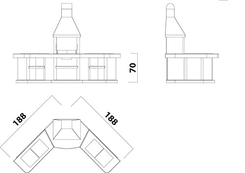 41cK2+fldiL - Wellfire Toskana Quatro Grillkamin Außenküche