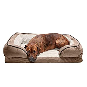 Furhaven Pet Dog Bed – Memory Foam Plush Velvet Waves Perfect Comfort Traditional Sofa-Style Living Room Couch Pet Bed with Removable Cover for Dogs and Cats, Brownstone, Large