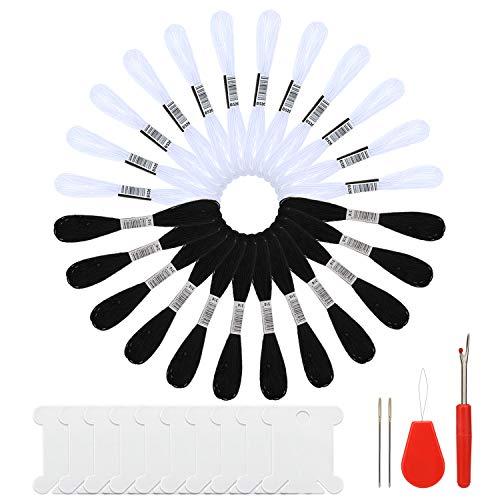 MWOOT 24 Skeins Stickgarn mit 10 Stück Floss Spulen, Embroidery Floss Nähgarn für Freundschaftsarmband,Nähen von Stickereien (Schwarz + Weiß)