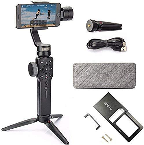 Zhiyun Smooth 4 Estabilizador De CardáN 3 Ejes Con CáMara De AccióN, Para TeléFonos Inteligentes Como IPhone, Samsung. Huawei, GoPro Hero 6/5/4/3 (La úLtima VersióN + Adaptador)