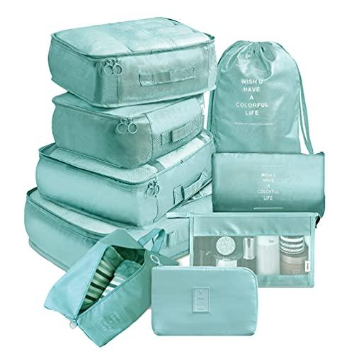 Ketamyy - Set di 9 cubi da viaggio per imballaggio, organizer per bagagli, borse a compressione, per vestiti, articoli da toeletta, valigie, scarpe, campeggio, colore: azzurro