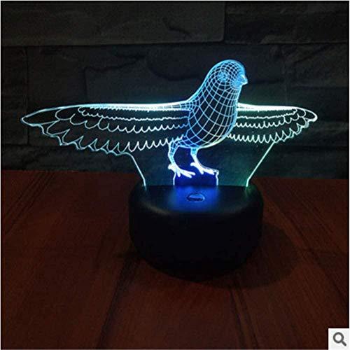 3D Illusie lamp 3 Duiven Nachtlampje Geschikt voor Kinderen Familie Vrienden Verjaardag Valentine USB 7 Kleuren (Afstandsbediening)