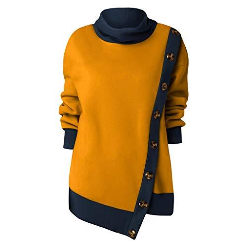 JiaMeng Pullover Damen Teddy-Fleece Winter Outwear Tops mit Knopf Design Sweatshirt Hooded Plüsch Pulli Unregelmäßiger Saum Drucke Oberteile