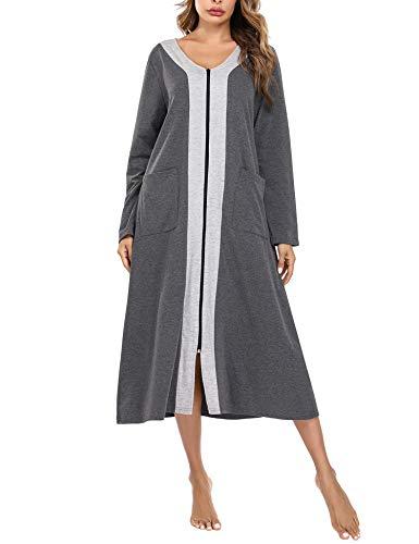 Aibrou Bademantel Damen mit Reißverschluss, Lange Morgenmantel Nachthemd Nachtwäsche mit Taschen Flauschig Weiche Gemütliche Robe Hellgrau XXL