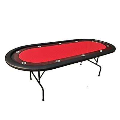 "IDS Online Folding Poker Table 10 Players Poker Table Texas Hold'em, Red, 96"", Model: 16364-R"