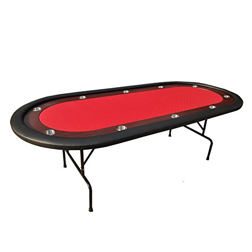 IDS Online Folding Poker Table 10 Players Poker Table Texas Hold'em, Red