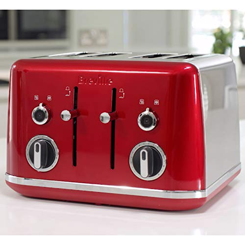 Breville Lustra 4-Slice Toaster, Candy Red [VTT852]