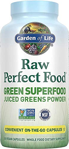 Garden of Life Raw Perfect Food Green Superfood Juiced Greens Powder Capsules, Non-GMO, Gluten Free, Vegan Whole Food Dietary Supplement, Organic Greens, Juice Sprouts Probiotics, 240 Count (Pack of 1)