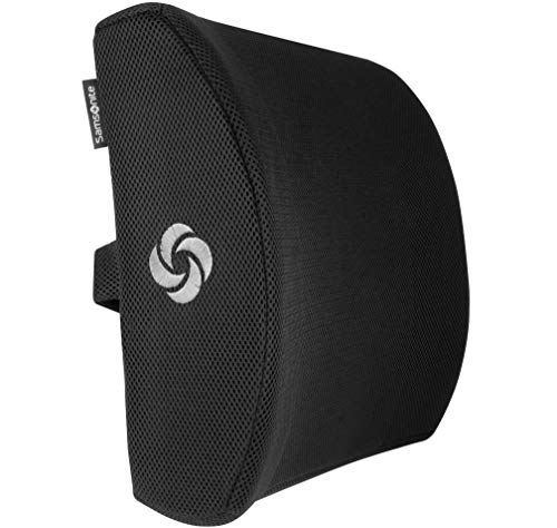 SAMSONITE SA5243 - Ergonomic Lumbar Support Pillow - Elevates Lower Back Comfort - 100% Pure Memory Foam - Use in Car or Office Chair - Fits Most Seats - Breathable Mesh - Washable Cover